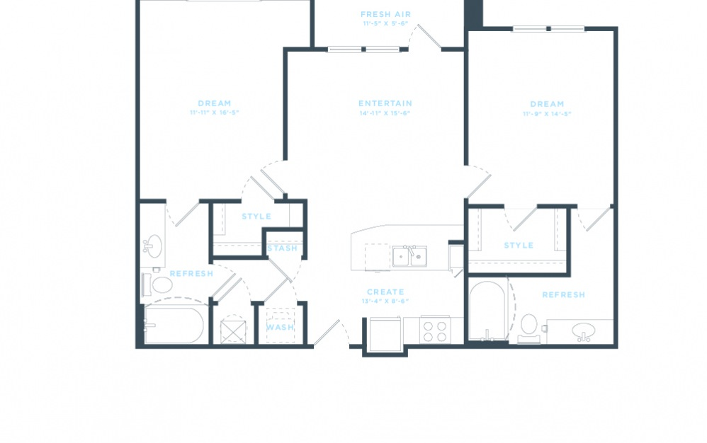 The Pine (B1) Floorplan in 2D