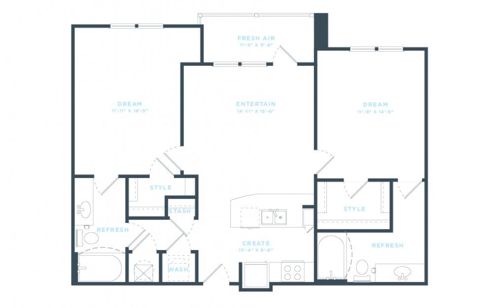 The Pine (B1) Floorplan in 2D