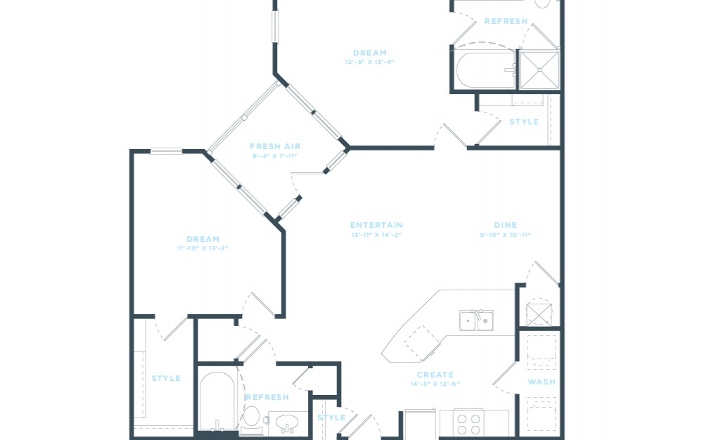The Mulberry (B5) Floorplan in 2D
