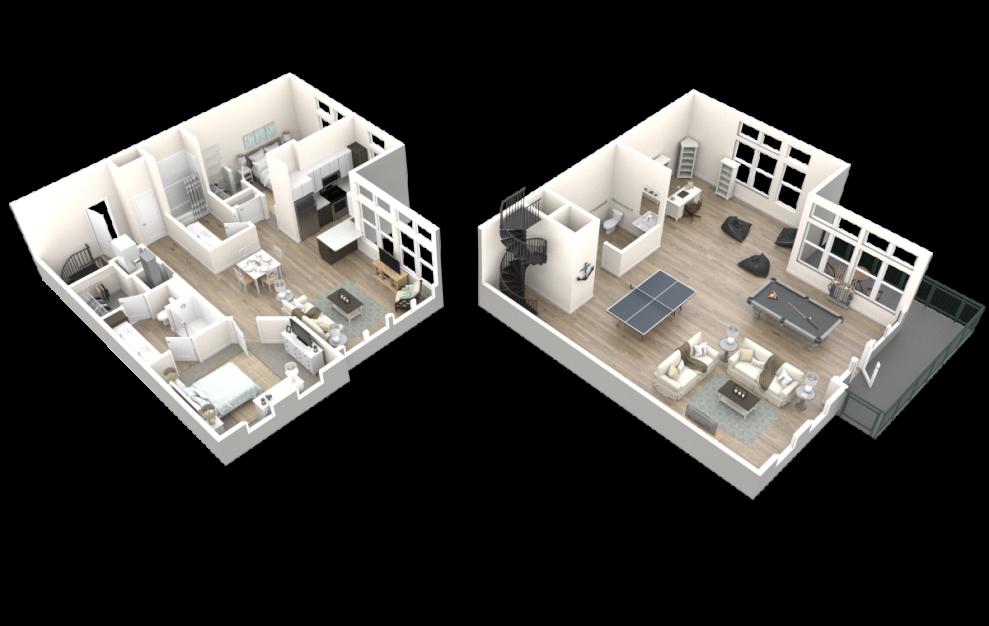 The Drexel (LW2) Floorplan 3D