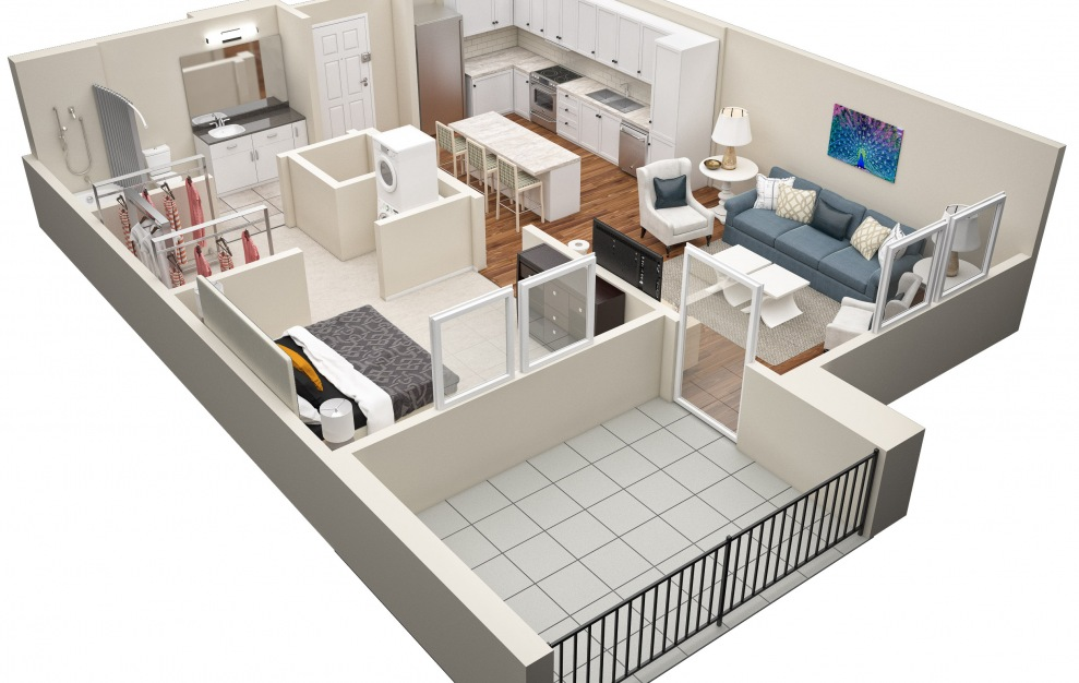 The Laurel - A1 Floorplan in 3D