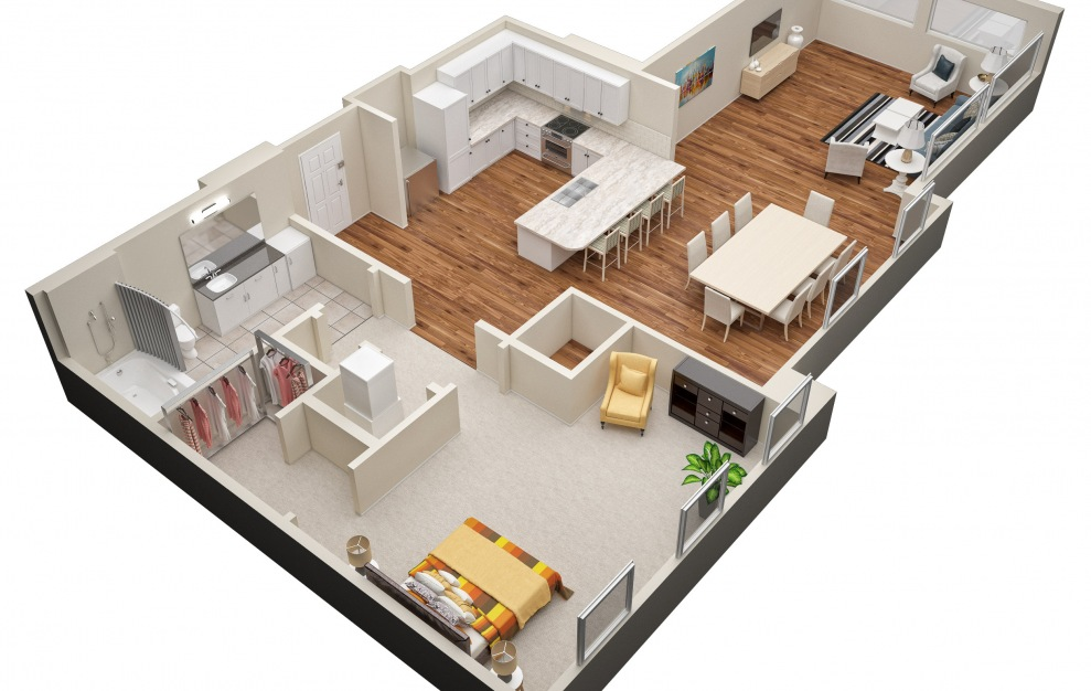The Oak (A7) Floorplan in 3D