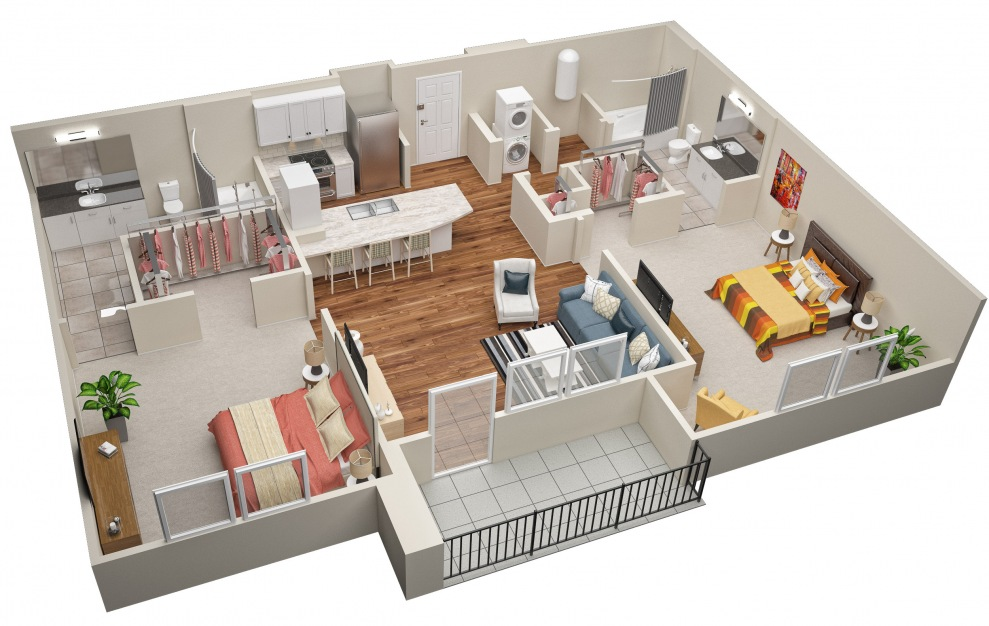 The Pine (B1) Floorplan in 3D