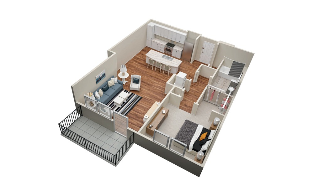 A4 1 Bedroom 1 Bath Floorplan