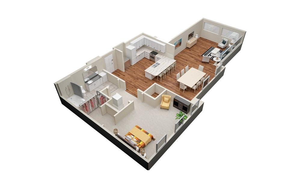 A7 1 Bedroom 1 Bath Floorplan