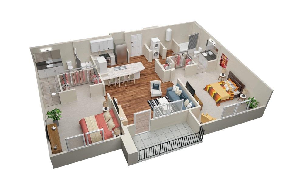 B1 2 Bedroom 2 Bath Floorplan