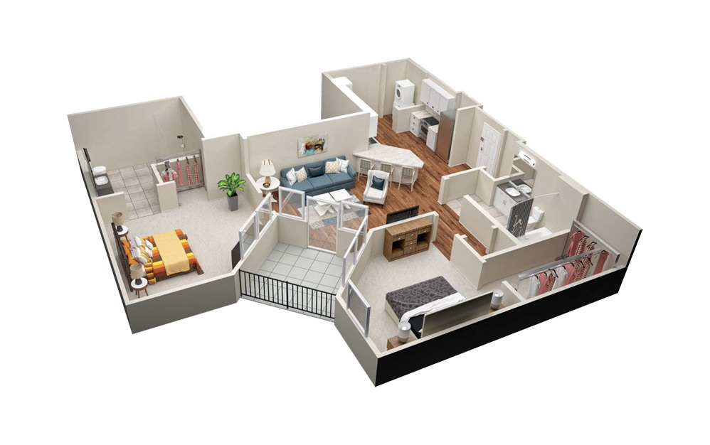 B3A 2 Bedroom 2 Bath Floorplan