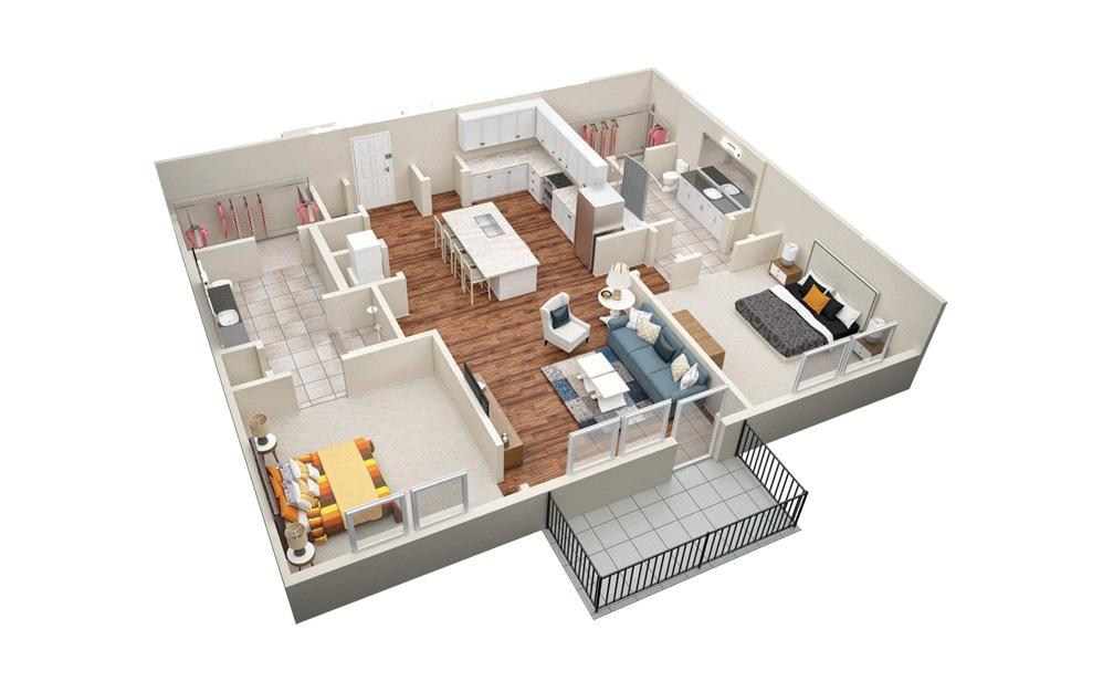 B4 2 Bedroom 2 Bath Floorplan