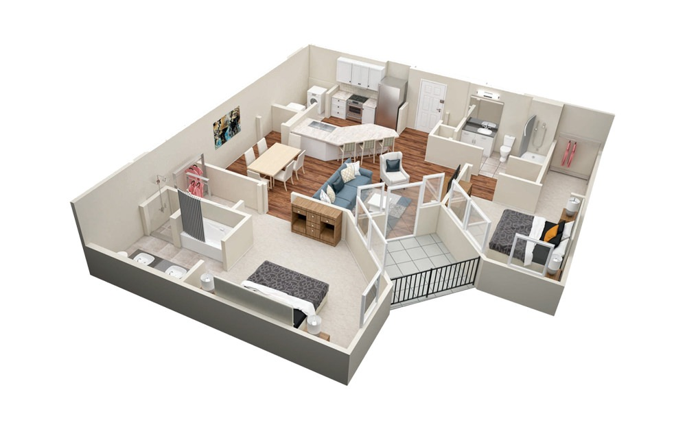 B5 2 Bedroom 2 Bath Floorplan