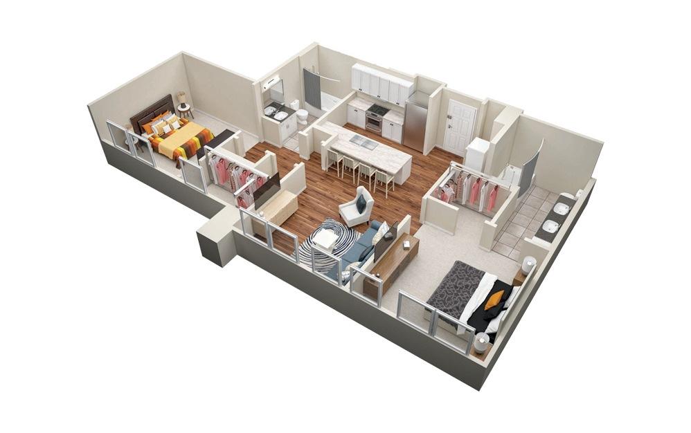 B7 2 Bedroom 2 Bath Floorplan